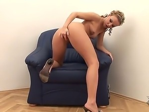 Glamorous hot ass blonde Allison with small titties and heavy make up in high...