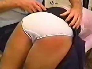 Schoolgirls spanked over there pretty white panties