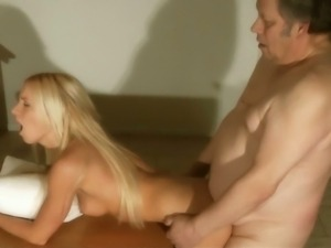 Horny old man fucks young blondie