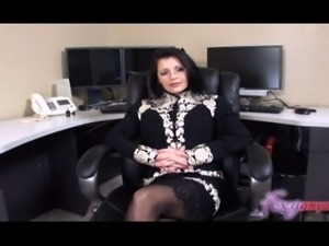 Busty latina milf wearing glasses interviews for job and ends up working hard...