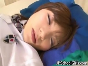 Cute Asian sleeping girl gets free