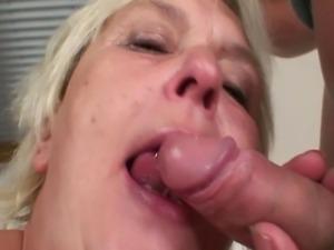 Horny granny seduces a young dude