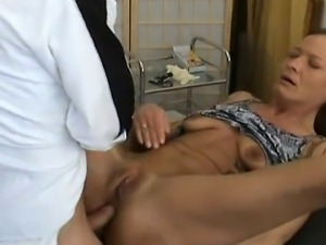 A mature amateur housewife waiting for the doctor and getting fucked in her...