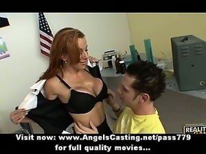 Hot brunette teacher undressing and having tits and pussy licked