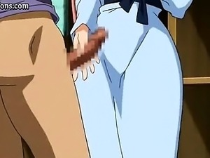 Redhead hentai enjoys boobs massage