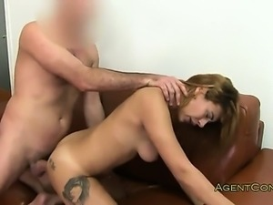 Brunette with great body asshole fucked on casting