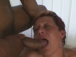 Interracial threesome with granny slut