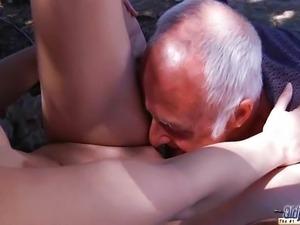 Old man fucking a horny redhead
