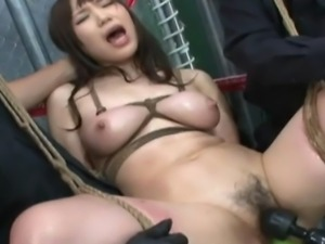 Classic Japanese S&M scene, Kaho and Ayumi are suspended in rope bondage and...
