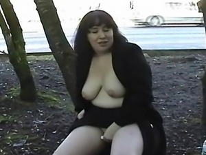Charismatic bbw amateur babe Nimue nude in public