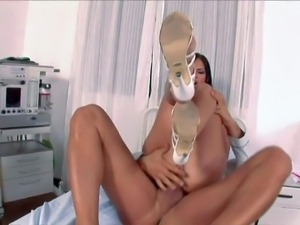 Black haired stunning nurse Black Angelica with big firm tits and pretty face...