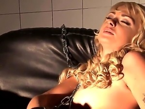 Kinky and arousing blonde honey Ivana Sugar enjoys in doing her solo in a big...