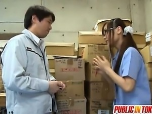 Japanese Teen In Glasses Fucks A Guy In A Public Warehouse