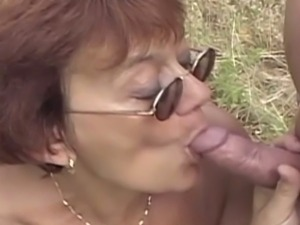 Horny granny gets banged in the wilderness