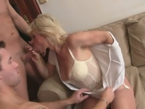 Two big young cocks for one old hot granny