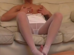 Tight blonde slut shouldnt be walking around in pantyhose only