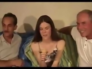 Tiny Titted Teen Anne Takes On Two Old Men