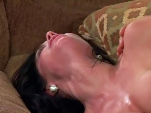 Black haired lusty milf Veronica Avluv with provocative heavy make up and...