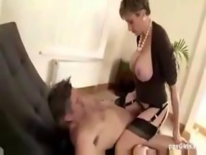 Mature Lady Sonia afternoon fuck riding in stockings