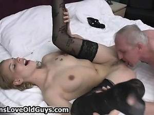 Horny grey old man loves licking a tight