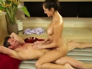 oiled up and with a babe on top