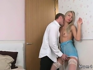 Small tits blonde mom fucks in white stockings in bed