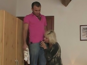 Kinky blonde milf fucks her son-in-law