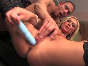 Turned on lusty blonde milf Diana Doll with juicy curves and heavy make up in...