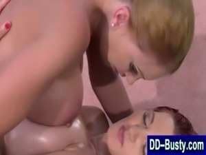 Massive tits get massage and licked free