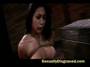Deep throat and bondage makes Mia Li wet