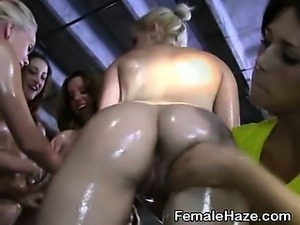 College Girls Dripping Wet At Warehouse Hazing Party