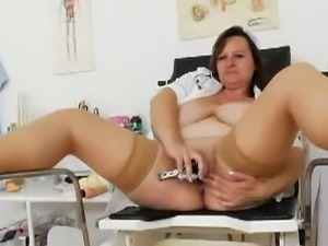 Huge jugs olena pokes her cunt with dildo.
