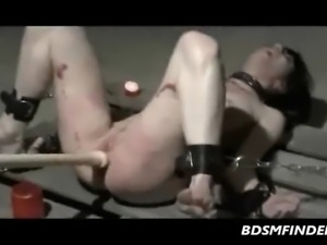 Brunette chained down her ass paddled and hot waxed