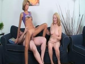 Pervert fucks mom and daughter