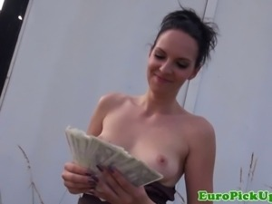 Euro girlnextdoor sucks a strangers cock outdoors for cash