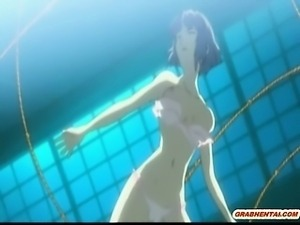 Bondage Japanese hentai with bigboobs gets roped hitting her
