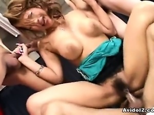 Busty Japanese babe gets abused by several cocks