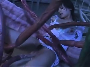 Sexy asian nurse gets her hairy pussy screwed by tentacles