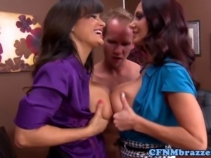 CFNM busty sluts mistreating dude as they use him as sex toy