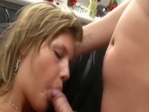 Chubby blonde milf rides a hard rod of meat