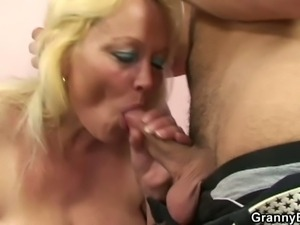 Young dude nails this blonde mature's hairy snatch