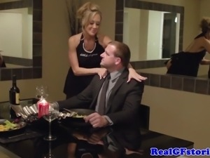 Real cougar wife drinking his juice after a deep dicking