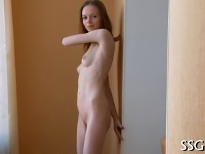 Skinny darling is playing with her sexy shaved twat
