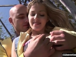 Shameless teen hottie Abby suck and ride a large cock outdoors