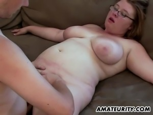 A chubby brunette amateur girlfriend homemade hardcore action with blowjob...