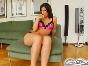 Four guys get a warm welcome inside the mouth of this adorable brunette teen....