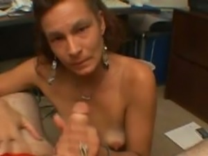 Skinny mature strokes cock topless