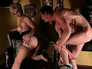 Sara Sloane nursing on cock in Psycho porn parody