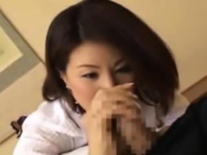 Japanese asian mature giving blowjob