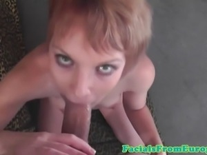 Redhead euro slut drooling on hard cock eager for her facial